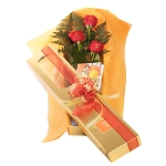 3 Roses With Box