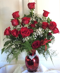 18 Red or Pink with Vase