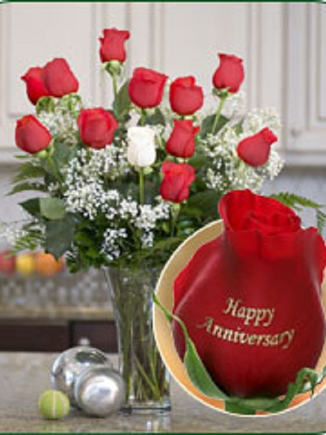 12 Roses - Happy Anniversary (11 Red, 1 White)