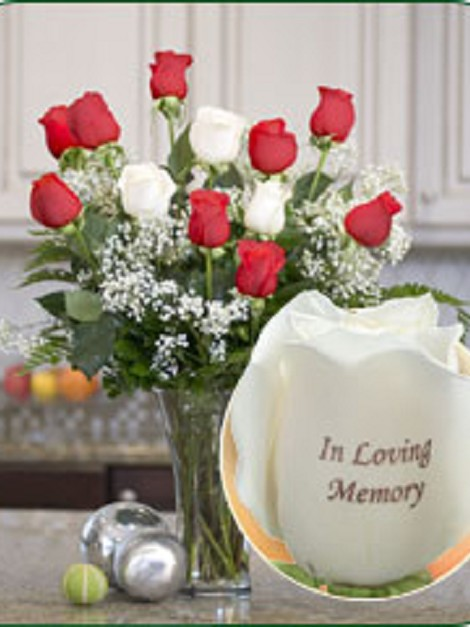 12 Roses - In Loving Memory (9 Red, 3 White)