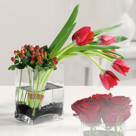 Tulips and Hypericum in Glass Cube