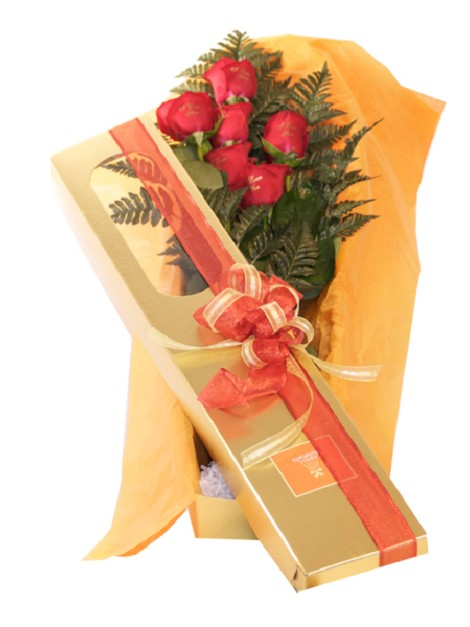 6 Roses With Box